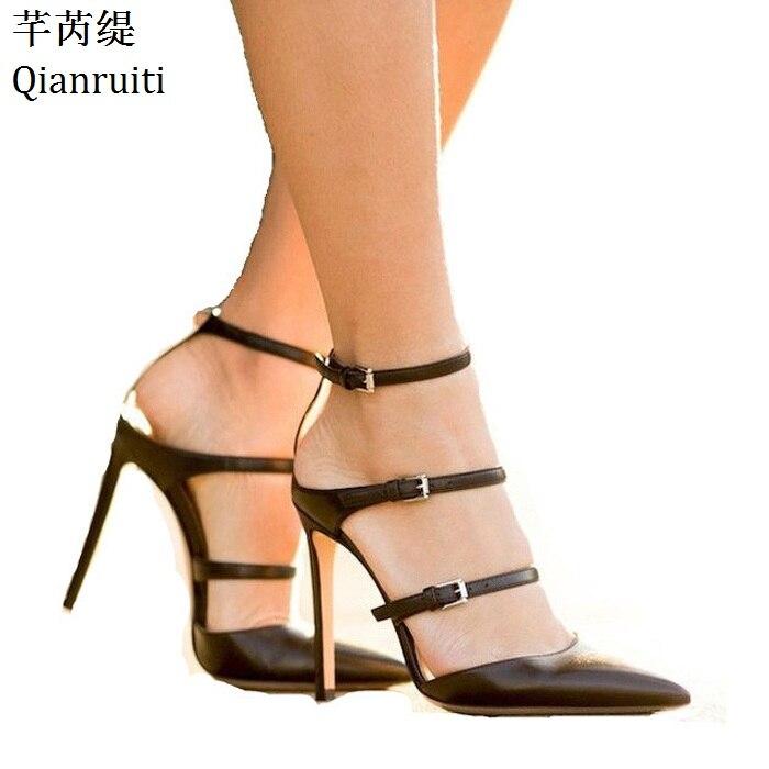 Qianruiti лето с вырезами на высоком каблуке женские босоножки ботильоны женские туфли-лодочки с ремешком-брошкой пикантные Женская обувь с ост...