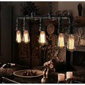 Retro Loft Industrial Pendant Light Fxitures With 5 Edison Bulbs Water Pipe Vintage Lamp Lamparas De Techo Colgante