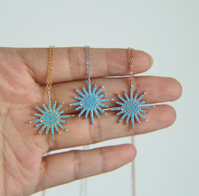 925 sterling silver 3 color blue turquoises stone high quality fine women north star pendant necklace недорого