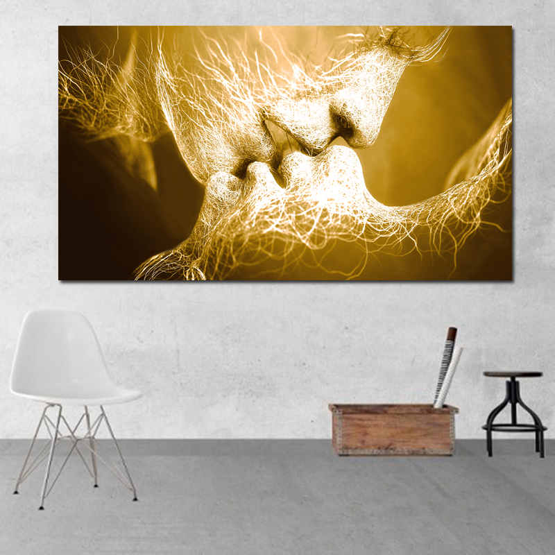 HTB1ovXAy5OYBuNjSsD4q6zSkFXa6 Unframed Abstract oil painting Love Kiss Wall Art Canvas Prints Pictures For Living Room Modern Pictures Home Decoration