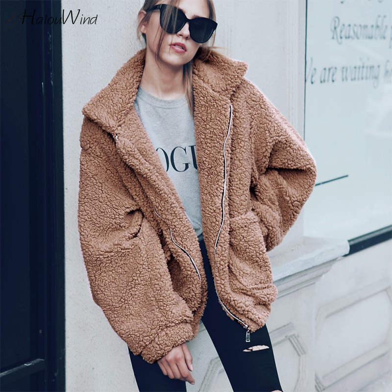 Fashion Winter Faux Fur Coat Teddy Bear Brown Fleece Jackets Women Outerwear Female Fuzzy Jacket Thick