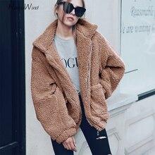 все цены на Fashion Winter Faux Fur Coat Teddy Bear Brown Fleece Jackets Women Outerwear Female Fuzzy Jacket Thick Overcoat Warm Long Parka онлайн