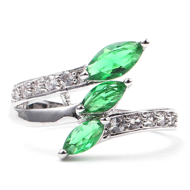 Charm สาม Rhombic Zircon สีฟ้า/สีเขียวโอปอลแหวน Vintage แฟชั่นทองคำขาว Birthstone แหวนเครื่องประดับของขวัญ