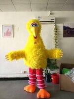 Ohlees réel image réelle De Sésame Rue jaune big bird Costume De Mascotte de noël halloween parti fantaisie caractère taille adulte