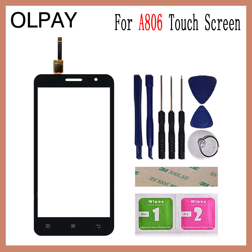 Image 2 - OLPAY 5.0'' For Lenovo A806 A806T A808 A8 Capacitive Touch Screen Touch Digitizer Panel Glass Tools Free Adhesive And Wipes-in Mobile Phone Touch Panel from Cellphones & Telecommunications