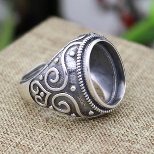 Art Nouveau anillo de compromiso para hombre 12x15mm Oval Cabochon Semi Montaje de Plata Sterling 925 Tamaño 9