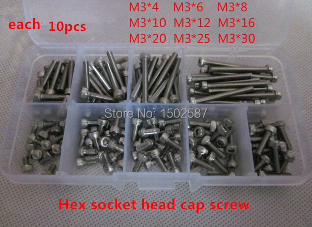 Hex Socket Head Cap Screw M3 Qty 90pcs in Box Assortment Kits SUS 304 M3*4 to M3*30mm