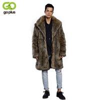 GOPLUS Men Faux Fur Coats 2018 Fashion Winter Outwear Fake Fox Fur Long Jackets Fur Coats