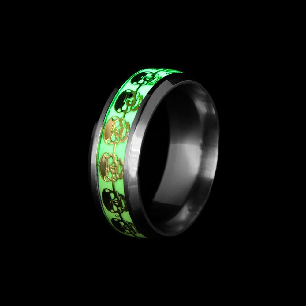 1 Pcs Luminous Skull Rings For Men Gold Silver Glow In The Dark Rings  Stainless Steel