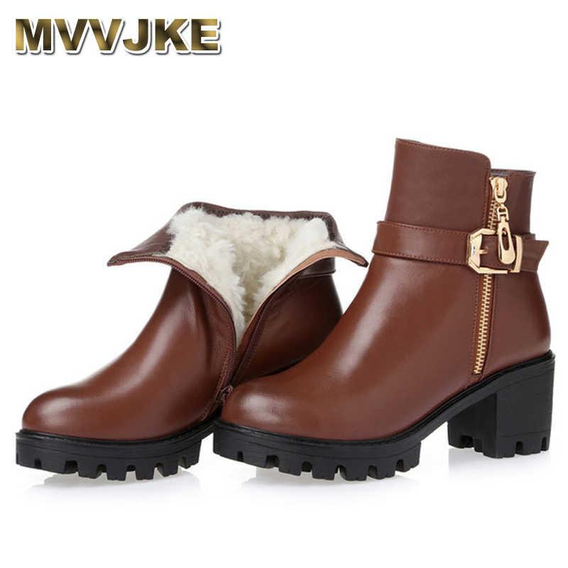 0b18cb8f3137 MVVJKE Новые 2018 Зимние ботильоны на высоком каблуке Для женщин сапоги  обувь со стразами Женская обувь