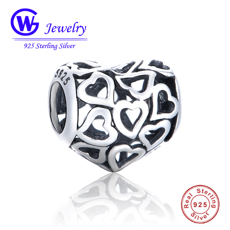 Hot Sell 925 Sterling Silver Hollow Heart Shape Fit the pandora charms silver 925 original Bracelet DIY Women Jewelry Making -50