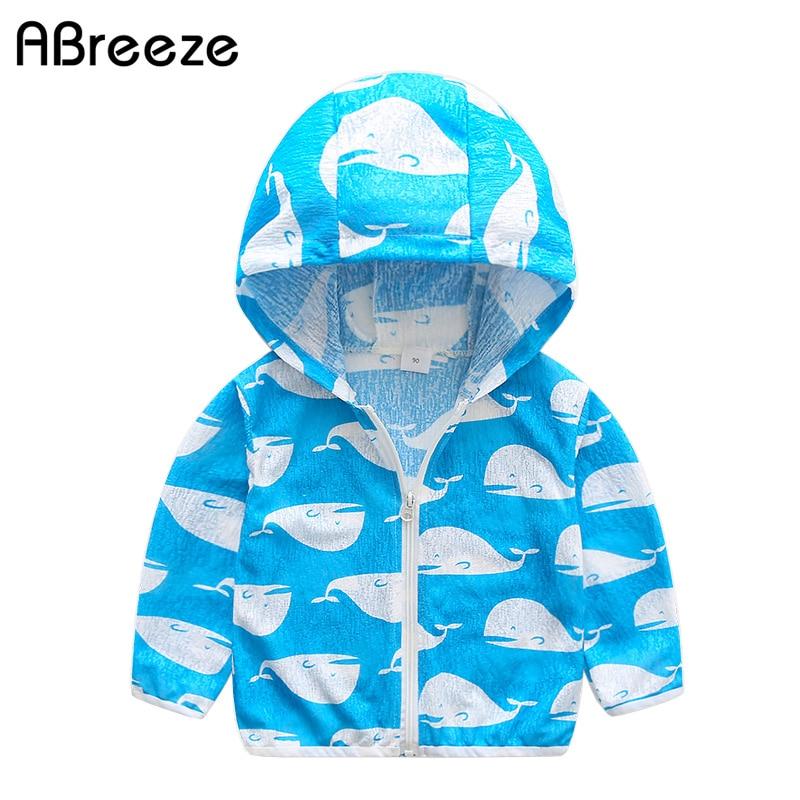 2018 новое летнее Детское пальто От 2 до 7 лет принт с животными Детские пляжные куртки для мальчиков Модная ветрозащитная верхняя одежда с кап...