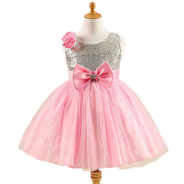 2017 Fashion Summer Wedding Formal Banquet Party Princess Girl Dress Bow Belt Flower Dress O-neck Sleeveless Baby Children Cloth