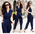 European Style Brand Rompers Womens Jumpsuit Fashion V-neck Sleeveless Jumpsuit Banquet Women Summer Romper Overalls WD1061