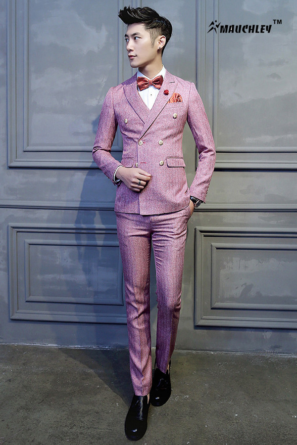 Latest Coat Pant Designs Double Breasted Suit Man Dress Pink Tuxedo ...