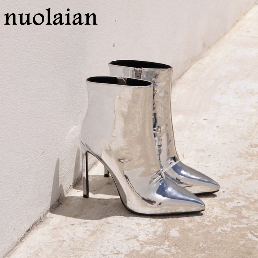 Botas de tobillo de charol de plata 10,5 cm Botas de tacón alto para mujer zapatos de invierno Botas de Punta puntiaguda para mujer primavera otoño