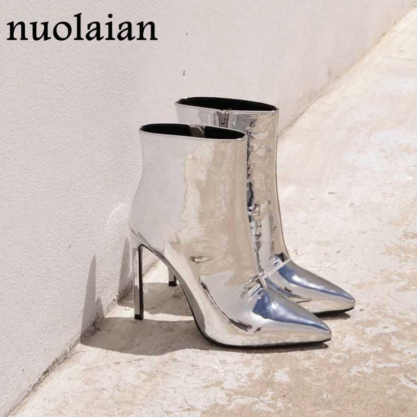 Zilver Lakleer Enkellaarsjes 10.5 cm Hoge Hakken Laarzen Vrouwen Winter Schoenen Vrouwelijke Wees Teen Botas Vrouw Lente Herfst laarzen