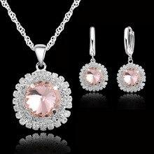 Earrings-Set Crystal 925-Sterling-Silver Necklaces Pendants Wedding-Bridal Women Austrian