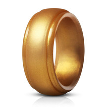 Men  Cool Gold silver color 8mm Wide Silicone Rubber Rings Size 7 8 9 10 11 12 13 14  Environmental Causal Finger Rings Jewelry