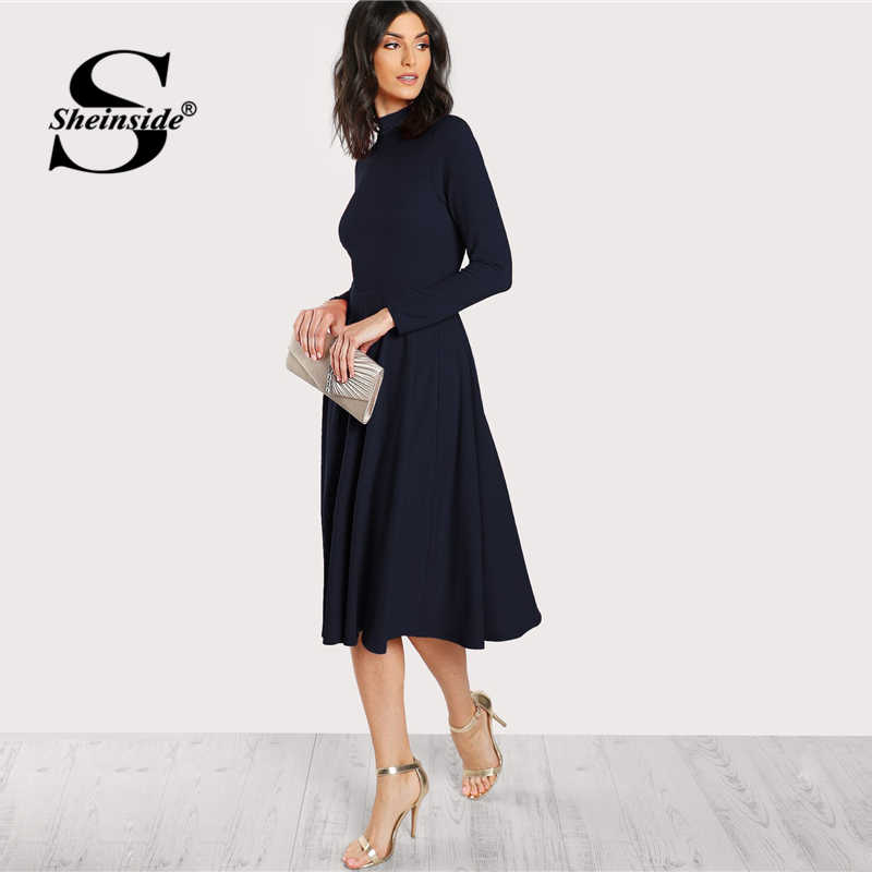 Sheinside темно-синее облегающее и расклешенное платье с воротником-стойкой, женское вечернее платье с длинным рукавом, Осеннее офисное женское элегантное миди-платье с высокой талией