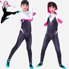 2018 New 3D Women Gwen Stacy Spider-man Cosplay Costume Spiderman Zentai Superhero Bodysuit Suit Jumpsuits