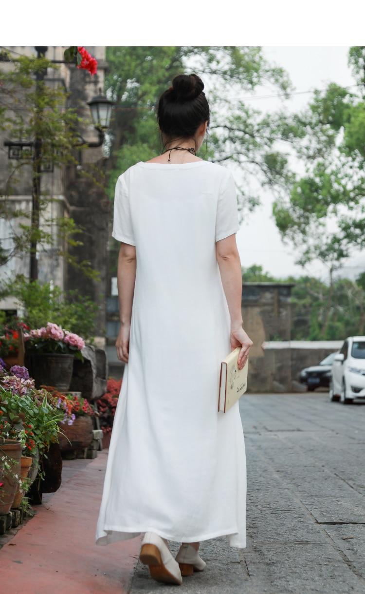LZJN Cotton Linen Dress Women Casual Loose Summer Beach White Dresses Ladies Short Sleeve Maxi Long Vestido Robe Femme Plus Size (9)