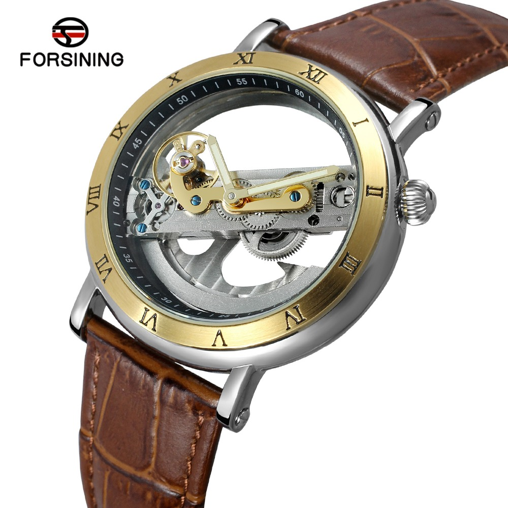 цены FORSINING Men's Unique New Design Luxury Automatic Watch Movement Hollow Out Genuine Leather Strap Skeleton Wristwatch Brand