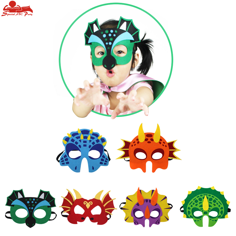 6 Pack SPECIAL Dinosaur Mask Boys And Girls Dino Themed Birthday Animal Costume Kids Elastic Sewn Realistic Masks Dragon Party