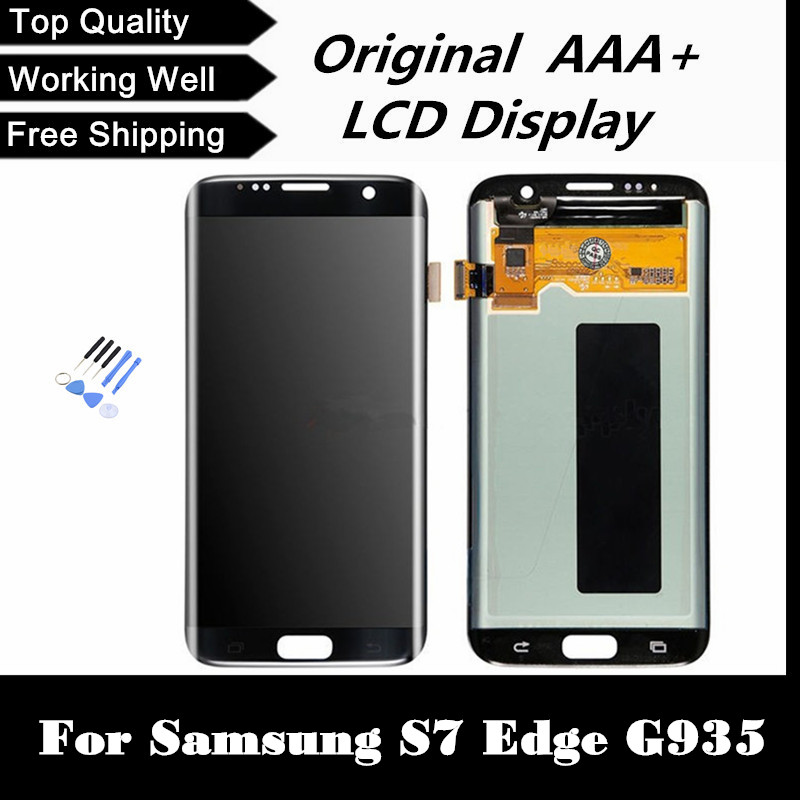 100 Original Gold Silver Black LCD Screen Display With Digitizer Assembly For Samsung S7 Edge G935