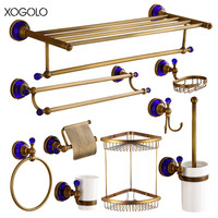 Xogolo Wholesale And Retail Antique Blue Crystal Mosaic Paper Towel Holder Shlef Luxury Brass Brushed Bathroom Hardware Sets