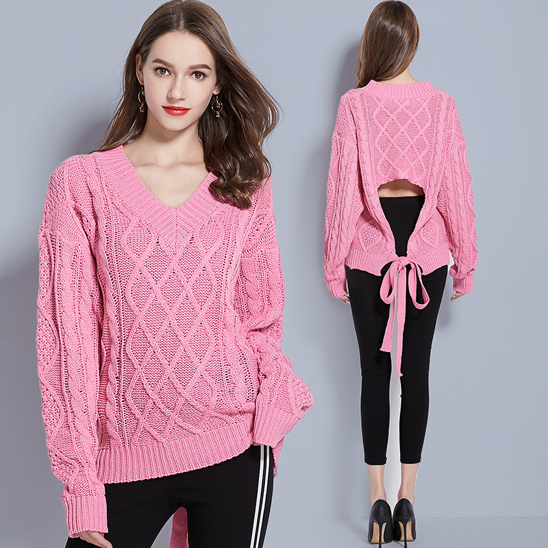 YiLin Kay 2019 Novo de Alta qualidade camisola de malha Camisola Das Mulheres Moda Sexy pink Backless ligam