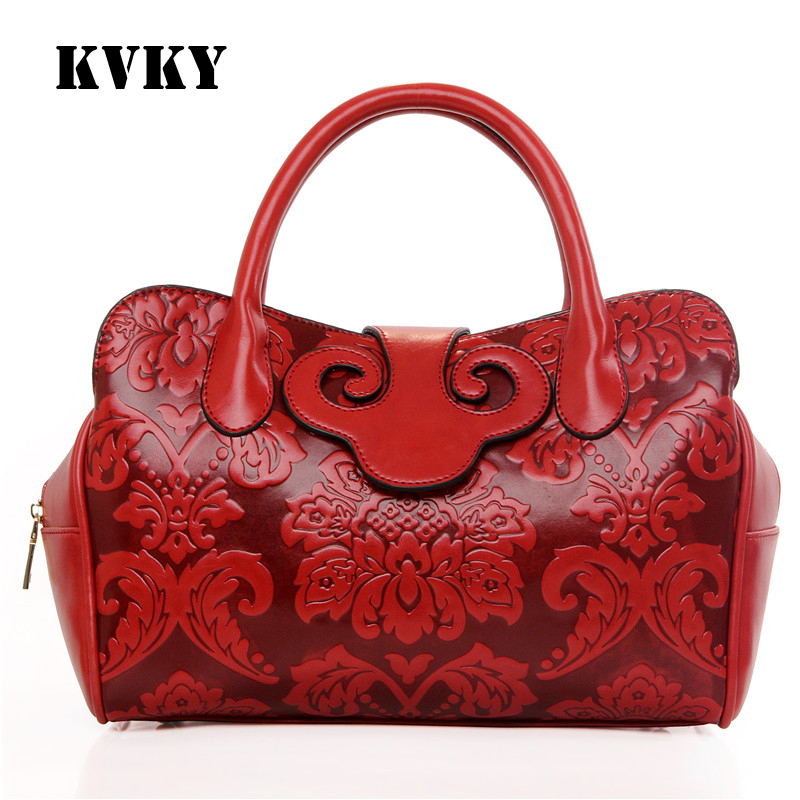 ФОТО Sky fantasy fashion new Chinese national style saddle women handbags casual classic floral red tote popular vogue shoulder bag