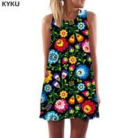 Платье с цветочным принтом KYKU, яркое винтажное платье в стиле бохо для женщин