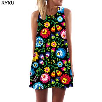 KYKU Flower Dress Women Colorful Sexy Vintage Short Harajuku Boho Art Tank Womens Clothing New Cool Femme