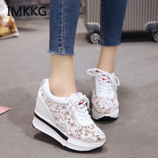 Sıcak Satış 2018 Yaz Yeni Dantel Nefes Ayakkabı Kadın Ayakkabı Rahat Rahat Kadın Platformu Kama Ayakkabı V182