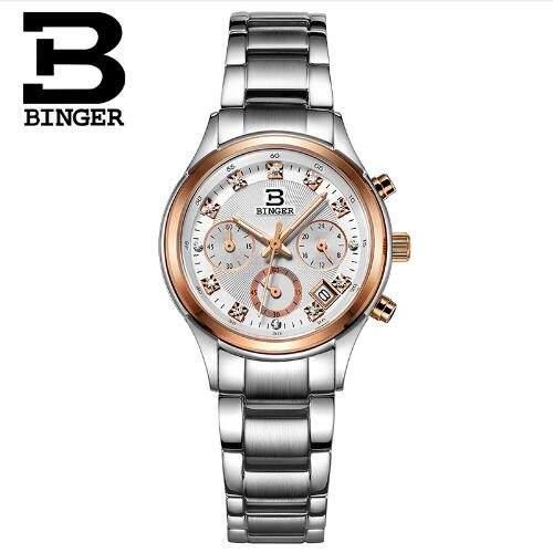 Switzerland Brand Binger Clock Geneva Watch Women Quartz Gold Stainless Steel Wrist Band Watch Luxury Casual Quartz Watches mce brand men self wind waterproof leather strap automatic mechanical male black white dial fashion tourbillon watch men clock