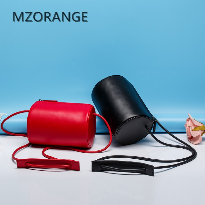 MZORANGE 2017 New women s Genuine leather handbag shoulder crossbody black HARAJUKU female circle handmade vintage