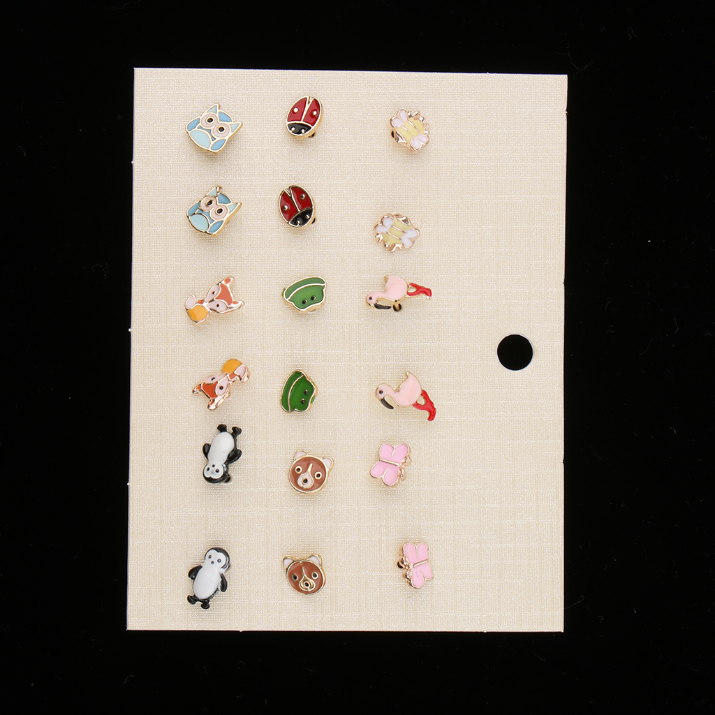 9 pairs Assorted Colour Ear Studs Earring Set