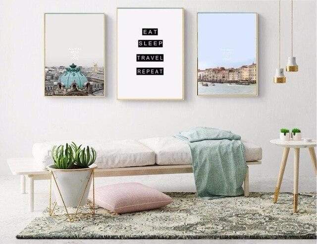 Nieuwe Moderne Mode Reizen Eet Slaap, Canvas Print Schilderij Poster ...