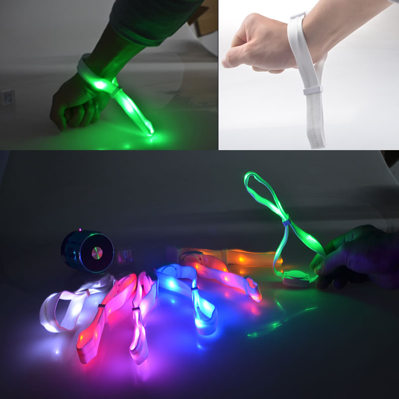 12pcs Sound Activated Glow In The Dark Bracelet Nylon Led Bracelets For Night Event Holiday