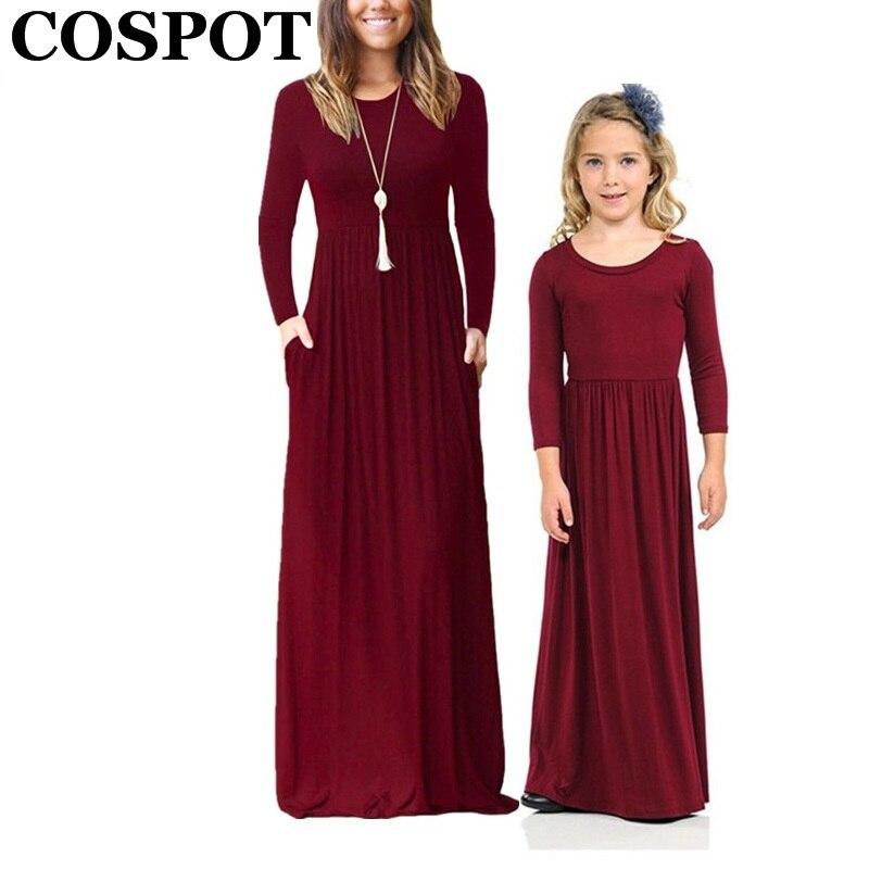 COSPOT madre e hija ropa de playa vestido largo niñas y mamá bohemio de manga larga vestido liso princesa Casual 2019 nuevo 45E