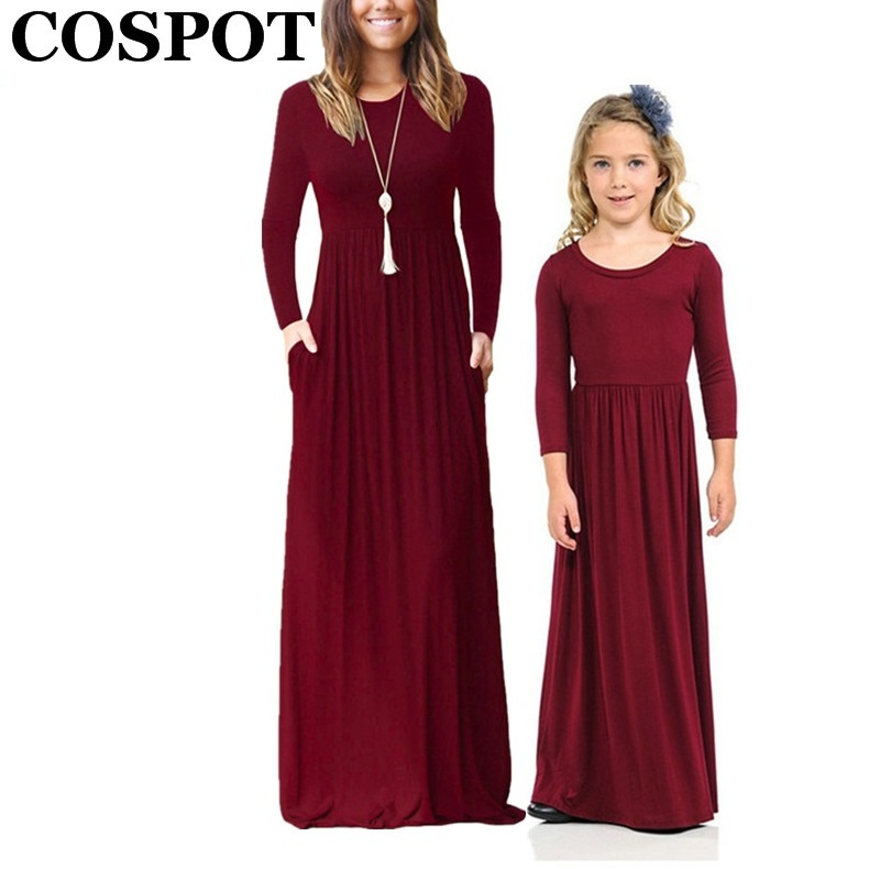COSPOT Mother and Daughter Beachwear Long Dress Girls and Mom Bohemian Long-sleeved Plain Dress Princess Casual 2018 New 45E protect flim r8310 45e