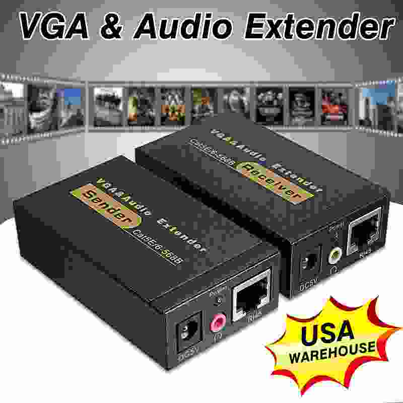 VGA RJ45 Ethernet Signal Extender Transmitter Receiver Adapter Network VGA to RJ45 Extender Sender Cable Adapter 1080p lkv373 wireless hdmi ethernet network networking transmitter receiver extender 100m cat5e cat6 cable for rj45 dropshipping