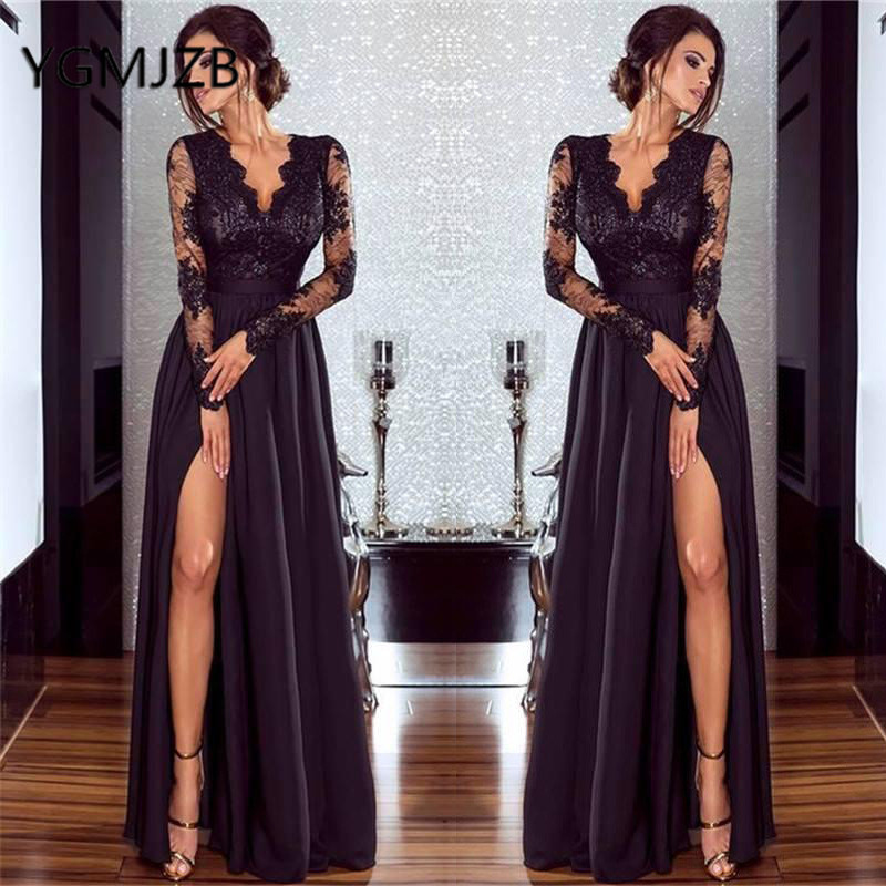 Long Prom Dresses 2019 A-line V-neck Full Sleeves High Side Slit Lace Evening Gown Saudi Arabic Women Formal Prom Party Dress