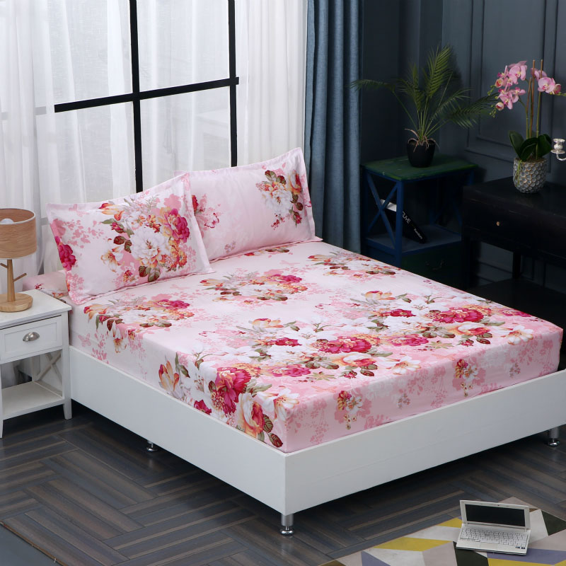 Nordic Floral Printing Mattress Cover Polyester Fiber Flamingo Bedroom Fitted Sheet Bed Protector Anti-dirty Stretch Bed Sheet