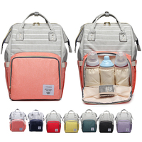 Lequeen Stripe Diaper Bag Backpack Designer Nursing Care Baby Bag Travel Nappy Bag Organizer Waterproof Maternity Patchwork Bag