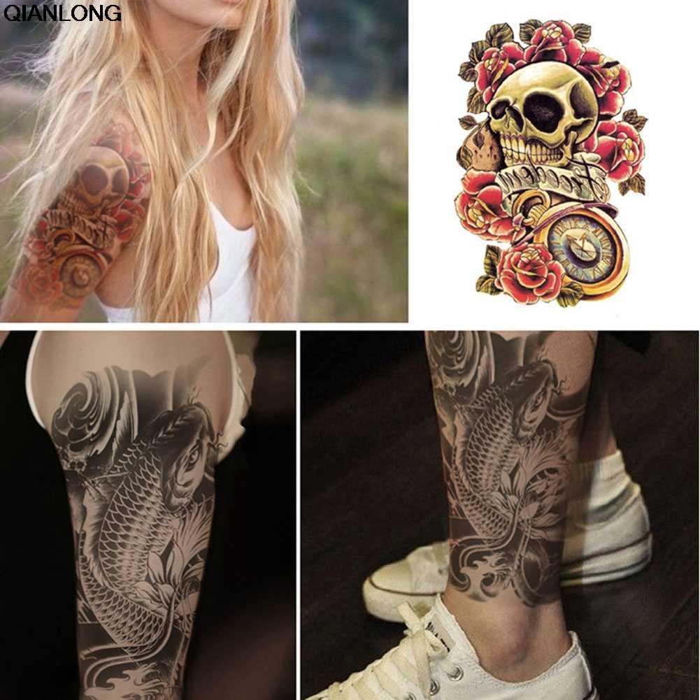 временная татуировка панк тату наклейка с черепом 1219 см водонепроницаемая