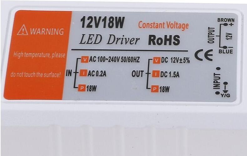 3 سال گارانتی 12 ولت DC 18W AC 100 - 240 ولت سوئیچ ترانسفورماتور درایور منبع تغذیه برای لامپ LED نوار