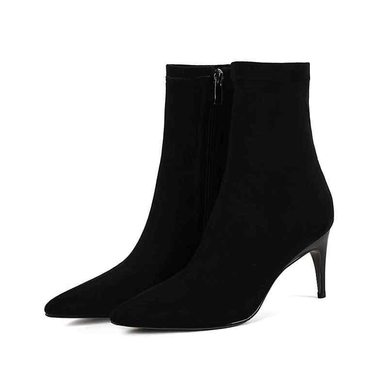 Krazing Pot 2018 süperstar büyük boy sivri burun akın garip stil kadın yarım çizmeler ofis bayan sıcak kış ayakkabı tutmak L99