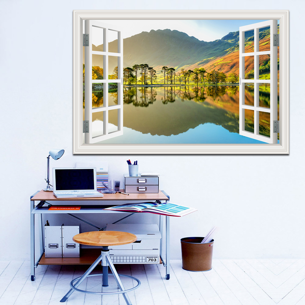 Uimitor Sunny Lake și Blue Sky Scenery De înaltă calitate 3D Amovibil Autocolant de perete Creative Window View Home Decor